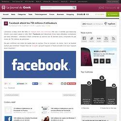 Facebook atteint les 750 millions d'utilisateurs