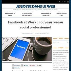 Facebook at Work : nouveau réseau social professionnel