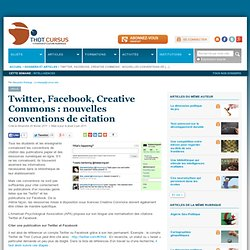 Twitter, Facebook, Creative Commons : nouvelles conventions de citation