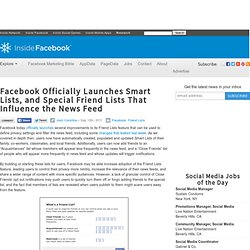 Facebook Officially Launches Smart Lists, and Special Friend Lists That Influence the News Feed