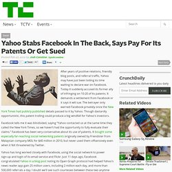Yahoo Stabs Facebook In The Back, Says Pay For Its Patents Or Get Sued