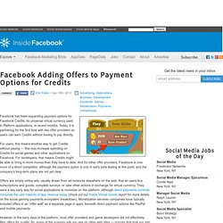 Facebook Adding Offers to Payment Options for Credits