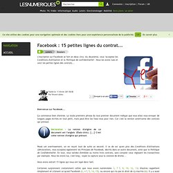 Facebook : 15 petites lignes du contrat...