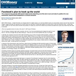 Facebook's plan to hook up the world - May. 24, 2007