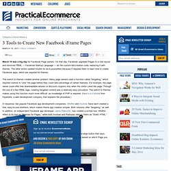 3 Tools to Create New Facebook iFrame Pages