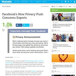 Facebook's New Privacy Push Concerns Experts