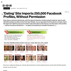 'Dating' Site Imports 250,000 Facebook Profiles, Without Permission | Epicenter
