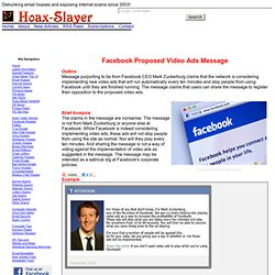 Facebook Proposed Video Ads Message
