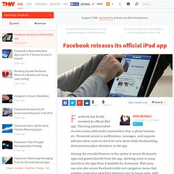 Facebook releases its official iPad app