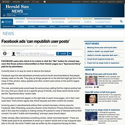 Facebook ads 'can republish user posts'