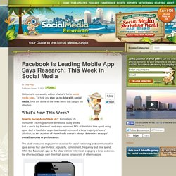Facebook is Leading Mobile App Says Research: This Week in Social Media