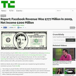 Report: Facebook Revenue Was $777 Million In 2009, Net Income $200 Million