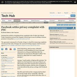 Facebook settles privacy complaint with FTC