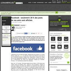 Facebook: seulement 28% des posts de nos amis sont affichés