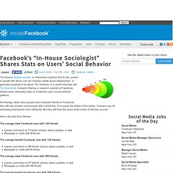 "Facebook's ""In-House Sociologist"" Shares Stats on Users' Social Behavior"
