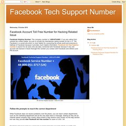Facebook Tech Support Number: Facebook Account Toll Free Number for Hacking Related Issue