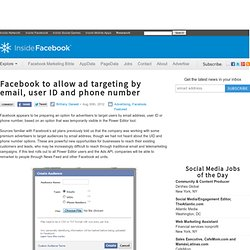 Facebook to allow ad targeting by email, user ID and phone number