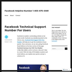 Facebook Technical Support Number For Users – Facebook Helpline Number 1-855-675-0081