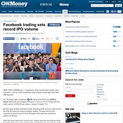 Facebook's IPO: Trading opens at $42 per share - May. 18