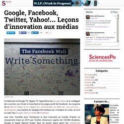 Google, Facebook, Twitter, Yahoo!… Leçons d'innovation aux médias