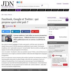 Facebook, Google et Twitter: qui propose quoi côté pub?