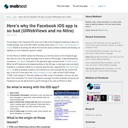 Here's why the Facebook iOS app is so bad (UIWebViews and no Nitro)