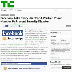 Facebook Asks Every User For Their Phone Number and Pins Security Link Atop Homepage To Prevent Disaster