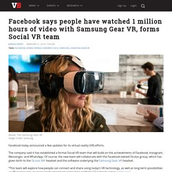 Facebook says people have watched 1 million hours of video with Samsung Gear VR, forms Social VR team