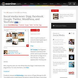 Social media news: Digg, Facebook, Google, Twitter, WordPress, and YouTube - Canada Canada Social Media