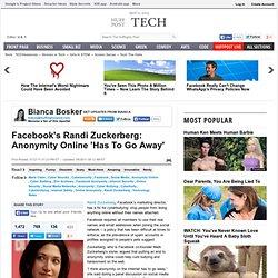 Facebook's Randi Zuckerberg: Anonymity Online 'Has To Go Away'