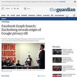 Facebook Graph Search: Zuckerberg reveals origin of Google privacy rift