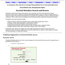 Faceted Metadata Search - Search Tools Report