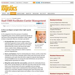 SaaS TMS Facilitates Carrier Management - Logistics Careerlink