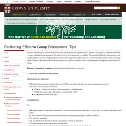 Facilitating Effective Group Discussions: Tips