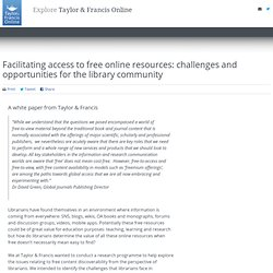 Facilitating access to free online resources: challenges and opportunities for the library community
