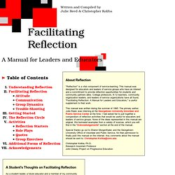 reflection teachers as leaders The masters of education (med) with emphasis in teacher leadership in the   promote teachers' abilities to engage in the careful analysis of and reflection on.