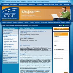 E-learning Facilitation Online Course University of Wisconsin-Stout