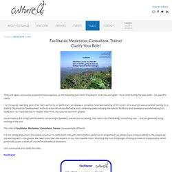 Facilitator, Moderator, Consultant, Trainer - Clarify Your Role! - cultureQs
