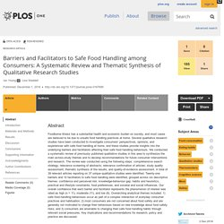 PLOS 01/12/16 Barriers and Facilitators to Safe Food Handling among Consumers: A Systematic Review and Thematic Synthesis of Qualitative Research Studies