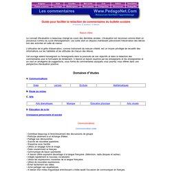 Guide pour faciliter la rédaction de commentaires du bulletin scolaire