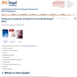 Facing up to Facebook: A Guide for FE and HE (02 August 2011)