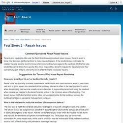 Fact Sheet 2 - Repair Issues