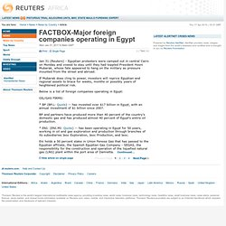 FACTBOX-Major foreign companies operating in Egypt