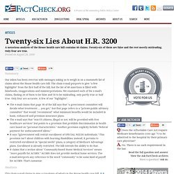 Twenty-six Lies About H.R. 3200 | FactCheck.org