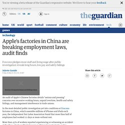 Apple's factories in China are breaking employment laws, audit finds