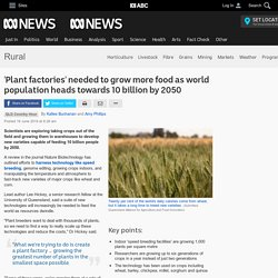 'Plant factories' needed to grow more food as world population heads towards 10 billion by 2050 - ABC Rural - ABC News