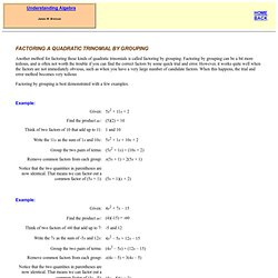 Factoring a Quadratic Trinomial by Grouping