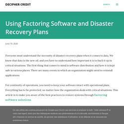 Using Factoring Software and Disaster Recovery Plans