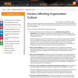 Factors Affecting Organization Culture