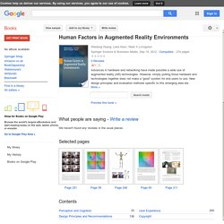 Human Factors in Augmented Reality Environments